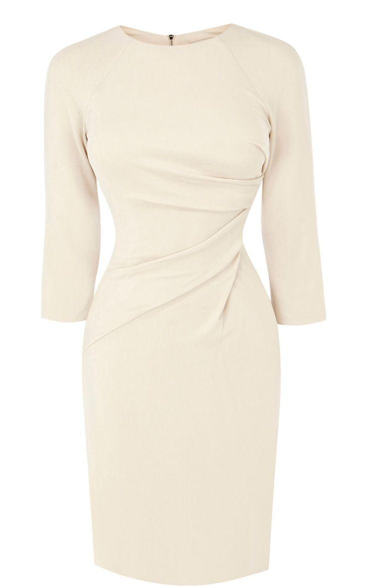 Karen millen Draped Front Jersey Dress in Pink (ivory) | Lyst