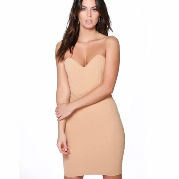 NWT camel bodycon dress Brand new and never been worn because it's too small for me. Size UK 8 which is equivalent to a US 2 Boohoo Dresses Strapless