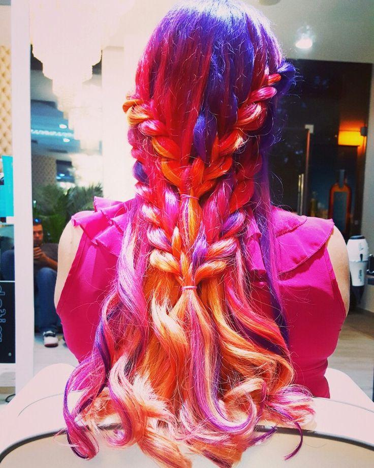 Cool braids #unicornhair #sunsethair #braids #hairstyling