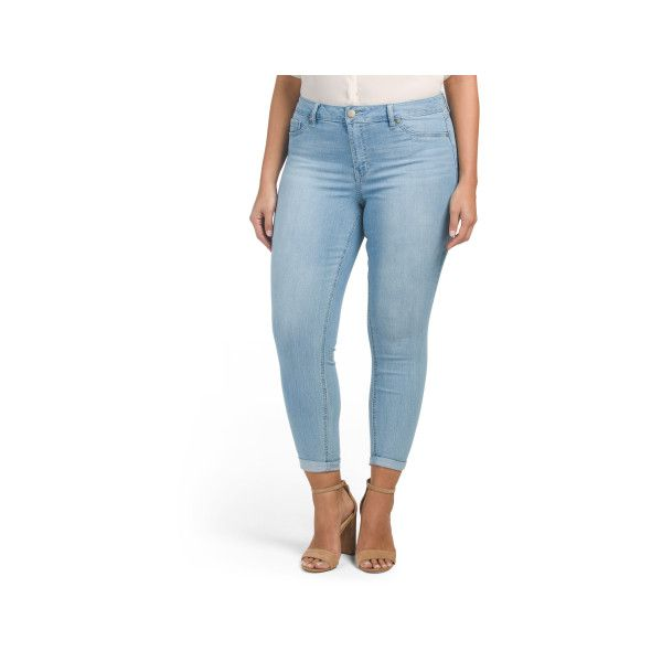 Plus High Waist Rolled Cuff Ankle Jeans ($20) ❤ liked on Polyvore featuring plus size women's fashion, plus size clothing, plus size jeans, high waisted ankle jeans, high waisted stretch jeans, rolled up jeans, high rise jeans and high waisted jeans