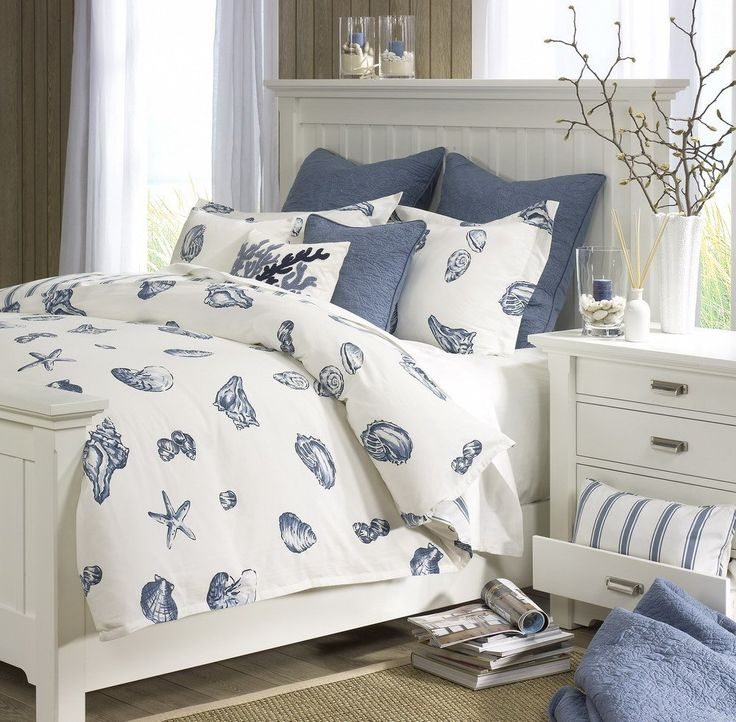 This bedroom done with the Harbor House Beach House Comforter Set is always a great look with a beach theme. #bedrooms #beachhouse #home www.capecodrelo.com