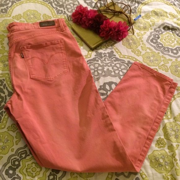 Levi's High Rise Demi Curve Jeans  High rise and have a faded look. Pink!! Levi's Jeans Skinny
