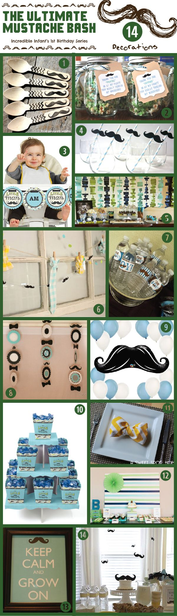 14 Decorating Ideas for The Ultimate Mustache Bash for Your Little Man's Birthday - http://www.incredibleinfant.com