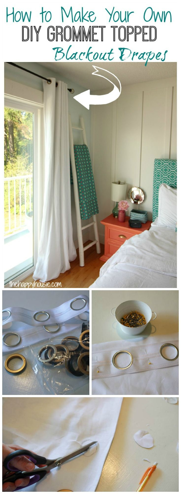 Awesome tutorial on how to make your own DIY Grommet Topped Blackout drapes using grommet tape from Online Fabric Store at thehappyhousie.com