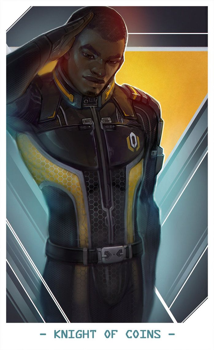Jacob Taylor as Knight of Coins -- Mass Effect Tarot Cards