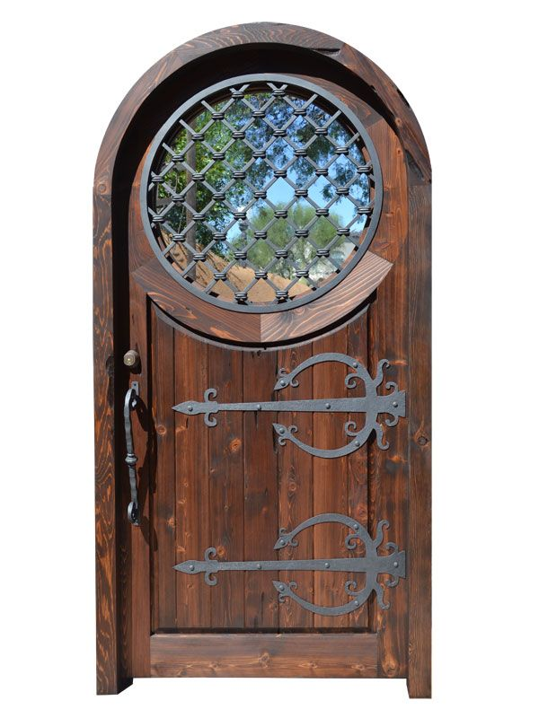 Arched Doors | Wood Doors | Entrance Doors | Historical Doors - Castle designed custom entry doors featuring hand forged iron hinges and hardware with Moon Gate inspired portal window with iron grill