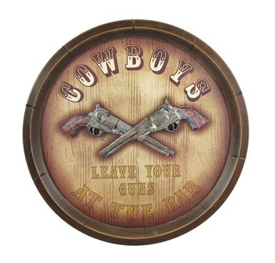 `Cowboys Leave Your Guns` Western Bar Sign