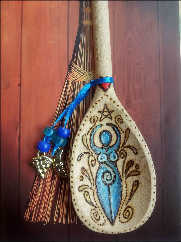 GODDESS Wooden Spoon Wall Hanging. Pagan Wicca Witch. WITCHES KITCHEN Pentagram