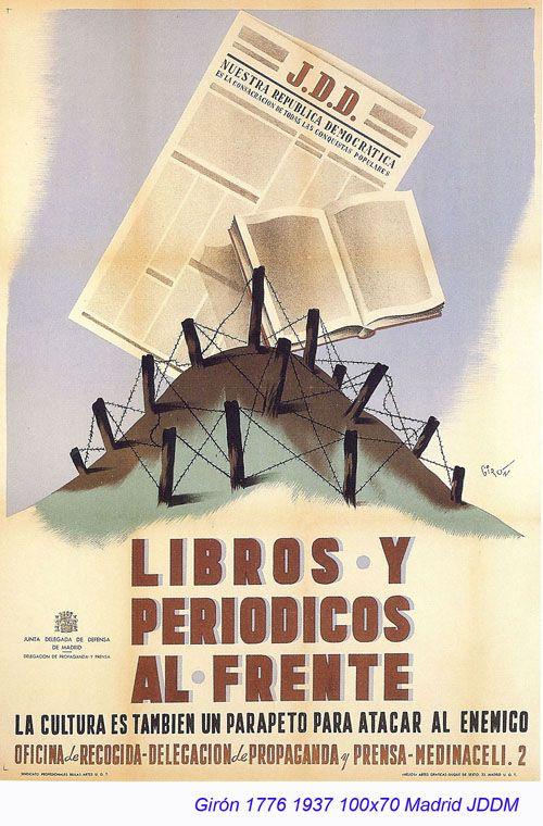 Spain - 1937. - GC - poster - autor: Giron - Libros y periodicos al frente