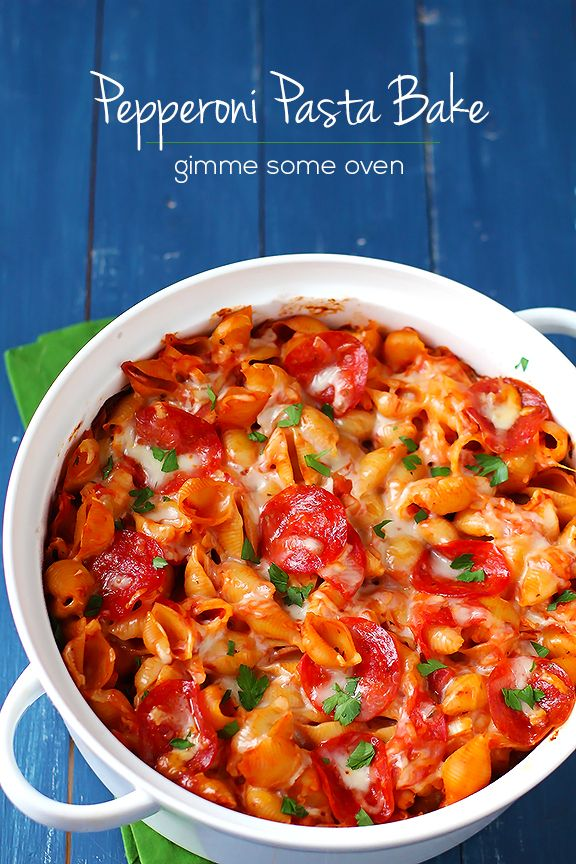 Pepperoni Pasta Bake -- If you love pepperoni pizza, you're going to love this one!! | gimmesomeoven.com #pasta #italian