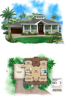 Small old Florida cracker style house plan with metal roof, wrap around porch, cupola.