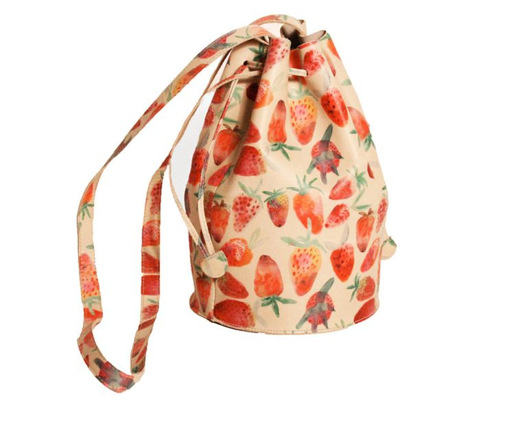 Strawberry Leather Drawstring Bucket Bag | tutti frutti | Pinterest