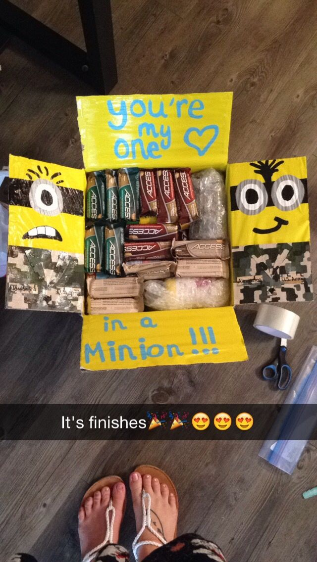 Minions care package for my deployed boyfriend! **it's finished** I sent this to my boyfriend because he loves minions! I got a bunch of random minions items from Walmart as gag gifts and then I painted the army uniform by just looking at his pictures and hoping for the best! This was definitely the best package I made for him!