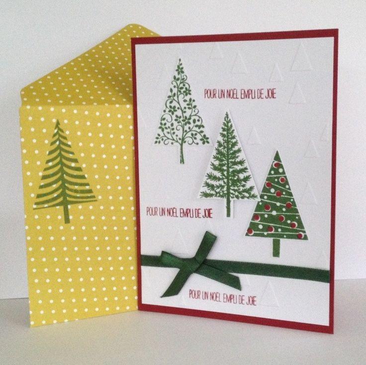 Carte de Voeux Noël - Rouge carmin - Sapins - Ruban satin vert : Cartes par l-atelier-des-mille-cartes