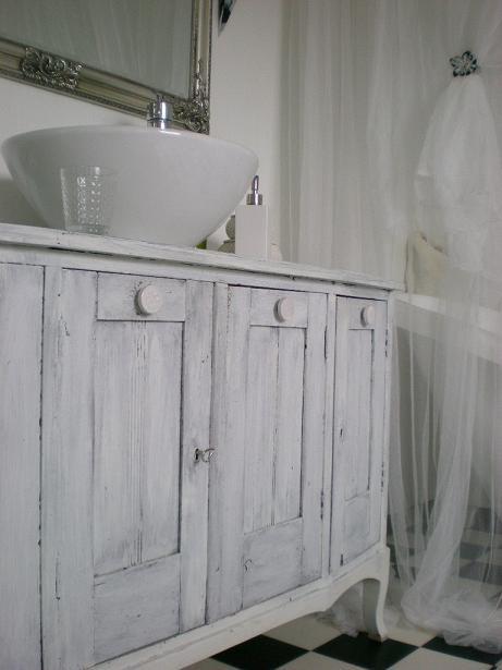 Sink Cabinet Bathroom Chalk Painted White Grey