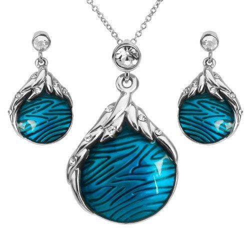 Arinna Girls Blue Enamel Fashion Earrings Necklace Set 18K White Gp Swarovski Elements Crystals Arinna. $35.98
