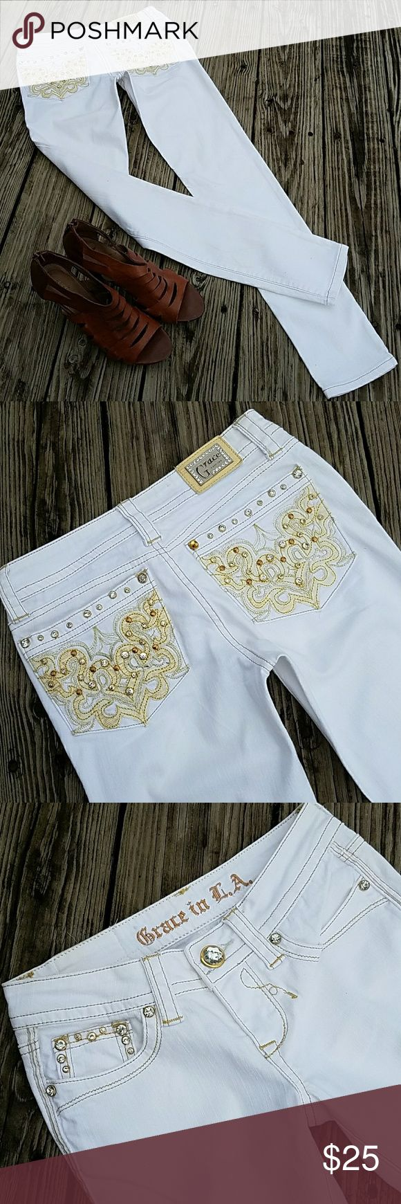 GRACE In LA Cropped Skinny Jeans~ Size 24 x 30 Absolutely gorgeous! GRACE in LA, cropped skinny jeans! White with gold detail and bling on back and front pockets. All rhinestones intact. Measurements are W24 x L30.   FREE GIFT WITH PURCHASE OF ANY BUNDLE!!  Tags: camo country girl western southwestern turquoise bling southern girl womens juniors teens booties boots shoes grace in LA fall winter clothing aeropostale boot cut jeans miss me buckle ariat cowgirl style justin boots skinny cropped…