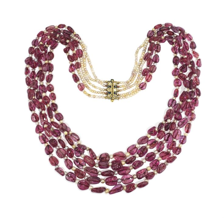 A 19TH CENTURY INDIAN SPINEL AND PEARL NECKLACE. Spinels 1065 carats. Natural Pearls 144.05 carats. Enamel clasp in 22K gold.