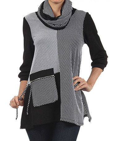 Love this Black & White Tunic & Infinity Scarf by Come N See on #zulily! #zulilyfinds