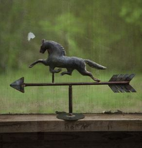 "GAVVANIZED TABLE TOP WEATHER VANE FOR ALL OF YOU HORSE LOVERS *temporarily out of stock..check for availability gat@zuzuspetalsfurnishings.com Product Dimensions: 18"" x 11.5""t UPC#841628101126"