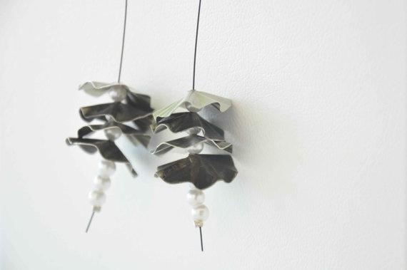 Handmade alpaca  metal earrings and white pearl beads by zOOzART, $17.00