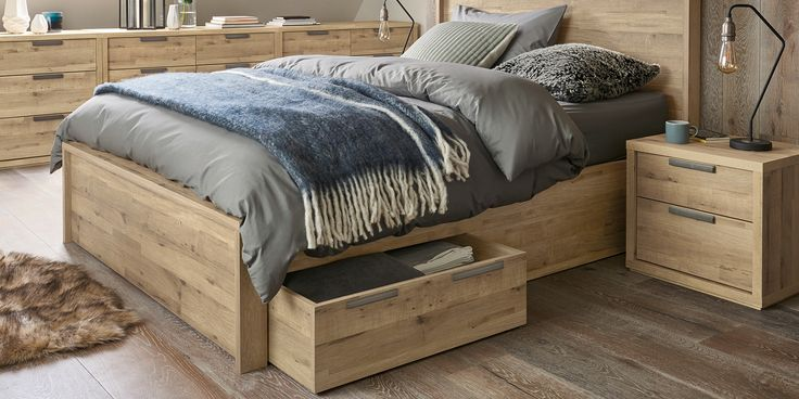 Buy Bronx Double bed with 2 storage drawers Wood White from the Next UK online shop