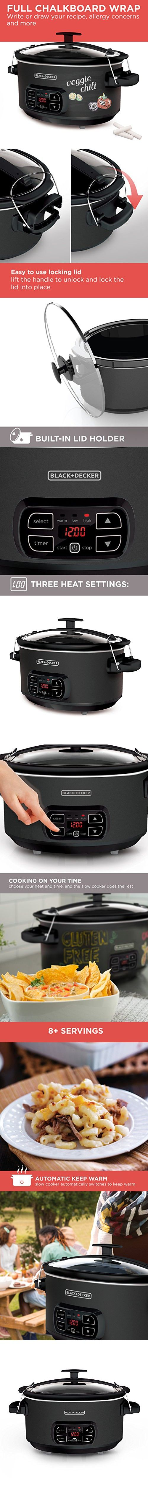 BLACK+DECKER SCD4007 7 Quart Programmable Slow Cooker with Digital Timer, Portable Slow Cooker with Locking Lid, Chalkboard Surface (Chalk Included)