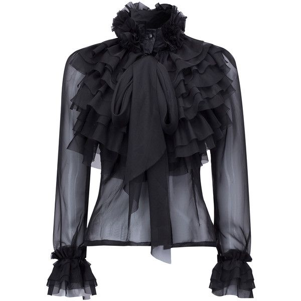 Black High Neck Bow Tie Front Layered Ruffle Sheer Shirt ($37) found on Polyvore featuring women's fashion, tops, blouses, jackets, shirts, long sheer shirt, bow tie blouse, flower shirt, sheer shirt and long blouse