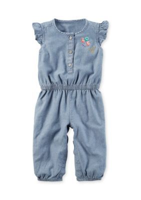Carter's  Flutter-Sleeve Chambray Jumpsuit - Chambray - 18 Months