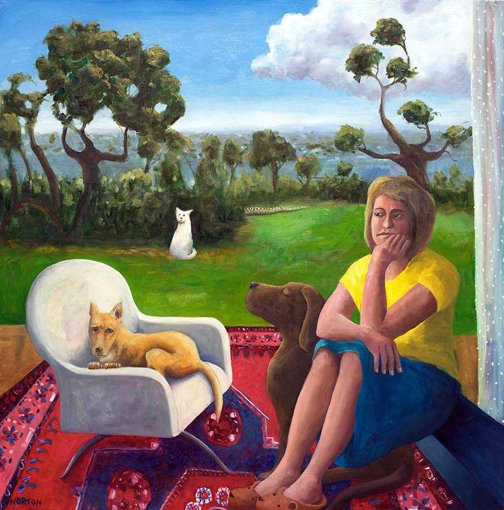 Helen Norton - The Veranda - Fine Art Australian Artist - Dogs