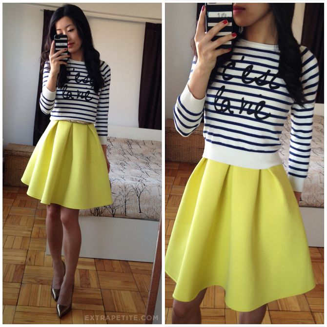 cropped striped sweater + bright pleated dress/skirt