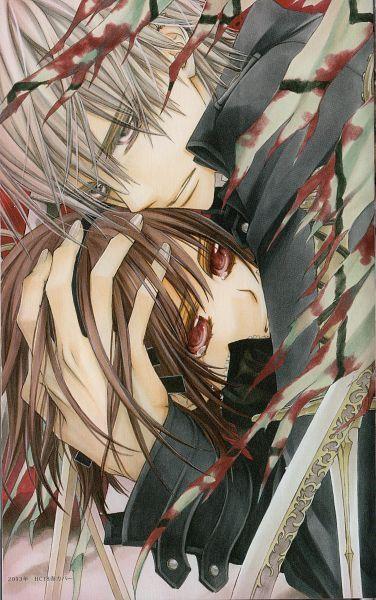 Yuki Cross (黒主 優姫, Kurosu Yuuki), Kaname Kuran (玖蘭 樞) and Zero Kiryu (錐生 零) from Vampire knight by Matsuri Hino.