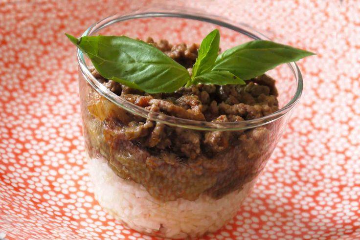 Riz, boeuf aux aubergines à la tomate et au basilic - une recette de Régalez Bébé (9-12 mois)