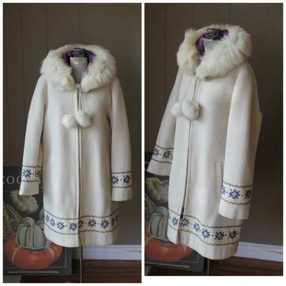 70s Inuit Coat / Eskimo Cream Coat with real fur collar and pom poms / Double Layer coat / Embroidered Trim Coat