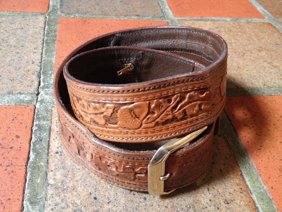 western money belt tooled leather 1 1 2 quot wide size