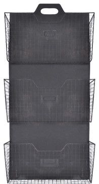 Wall Mounted 3 Tier Metal Vertical File Holder / Magazine Rack (Antique Iron) traditional-magazine-racks