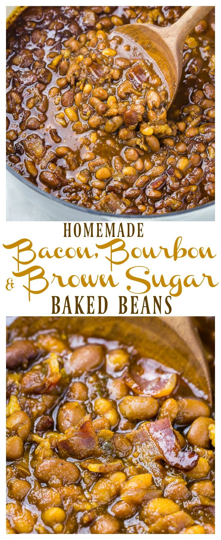 Homemade Bacon, Bourbon & Brown Sugar Baked Beans.  Includes instructions for canned or dried beans, plus directions for the oven, stove top & slow cooker! via @nospoonn