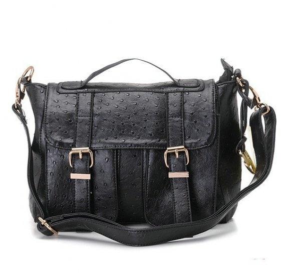Michael Kors Ostrich-Embossed Messenger Large Black Crossbody Bags on sale.  Save Big,Buy Now!