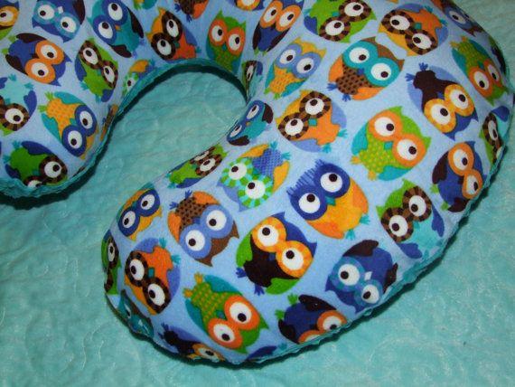 OWL Minky Nursing Pillow Cover Boppy or by tarascozycreations