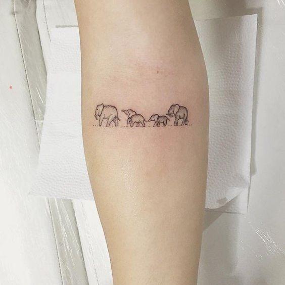 Elephant family tattoo!! http://www.hercampus.com/beauty/30-tiny-tattoo-ideas-major-inspiration
