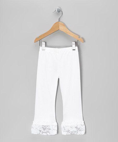 White Lace Flutter Leg Pants - Infant, Toddler & Girls