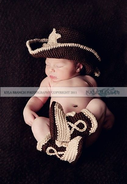Baby Cowboy Hat and Boots Chocolate Brown And by conniemariepfost, $50.00  @Anna Totten Taylor - you should see if Casey can make this!