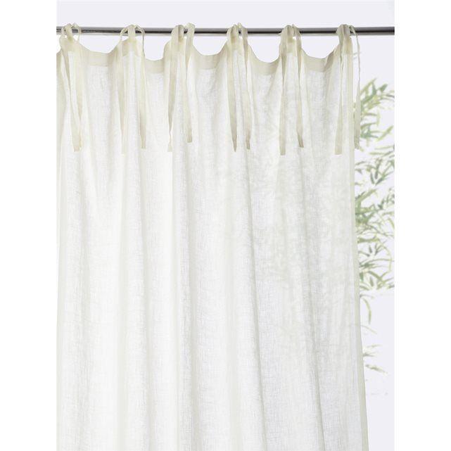muslin linen tie tab top curtain cyrillus la redoute mobile