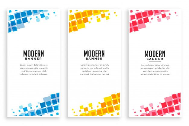 Download Modern Business Style Mosaic Banner Set For Free