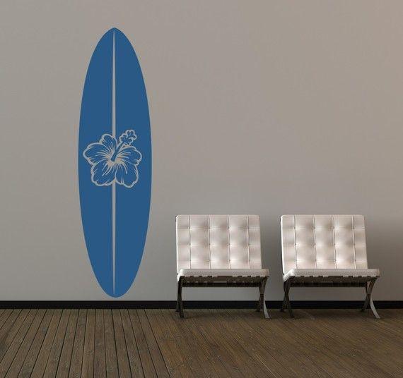 Wall Decal Surfboard Summer Flower Botanical by WallStarGraphics, $65.00
