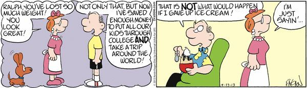 Humor In Dites & Fitness  GoComics.com  The largest source in the world for comic strips political cartoons and the home of Calvin & Hobbes Garfield Doonesbury Dilbert and hundreds more.