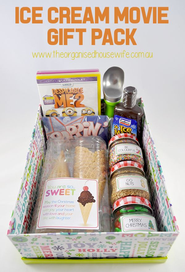 Ice Cream Movie Gift Pack, printable labels available at www.theorganisedhousewife.com.au/shop