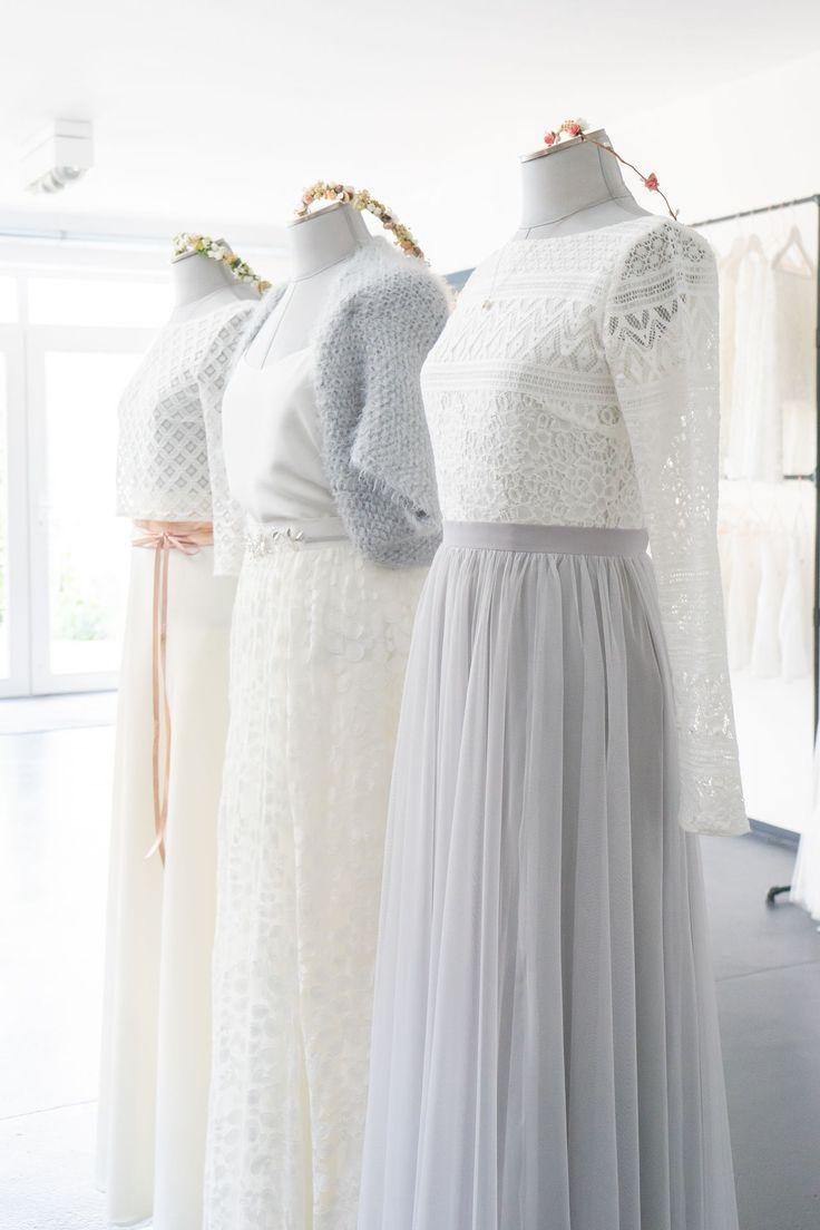 Moderne Brautmode: Spitzentop und Tüllrock, Boho Brautkleider und