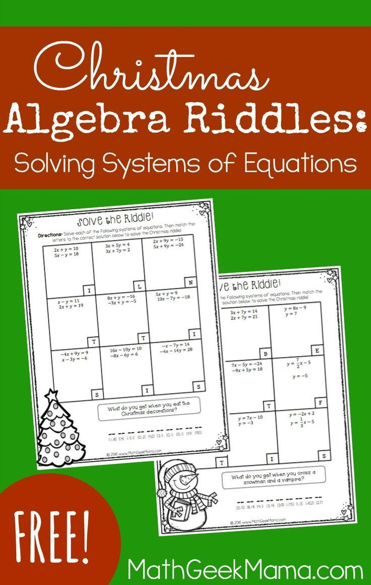 Christmas Riddles Solving Systems of Linear Equations
