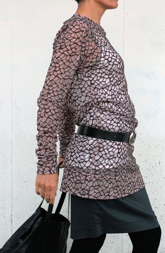 Mini Abito - Maglia Tulle - Top in Tulle - Maglietta Trasparente - Maglia Lunga - Vestito Tulle Pizzo - Maglia Rosa e Marrone - Abito Corto